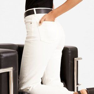Everlane High Rise Straight Ankle Jeans White 30